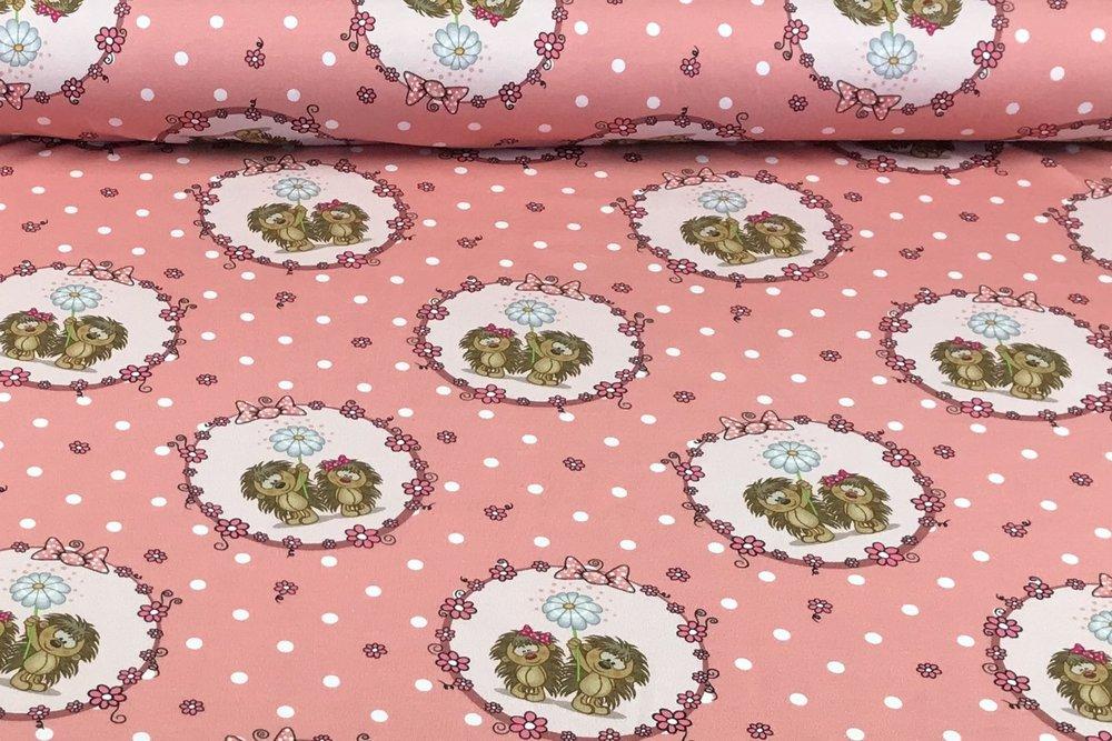 Jersey Öko Tex Punkte Stoff Tupfen gepunktet aubergine altrosa rosa 7 mm  24179