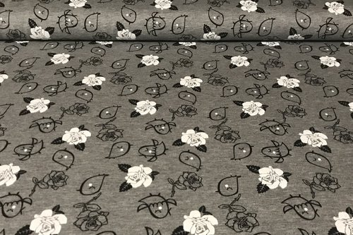 Sommersweat French Terry Vogel Floral Blume Grau meliert